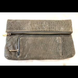 Lodis clutch: olive, distressed leather